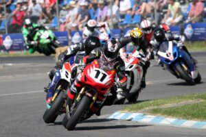 Tony Rees leads Scott Moir in the 2014 F1 Superbike race 2. 1m TStevensonPic 381